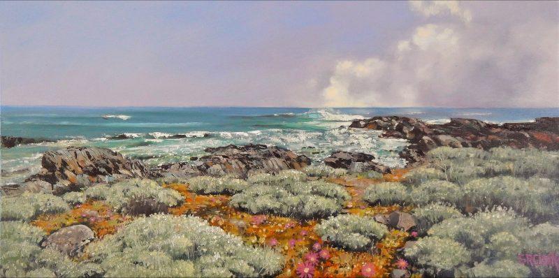 Metropolis Gallery - Stella Clarke 'Sunlit at the Sea's Edge' oil on canvas 2018. Size: 60 x 120cm