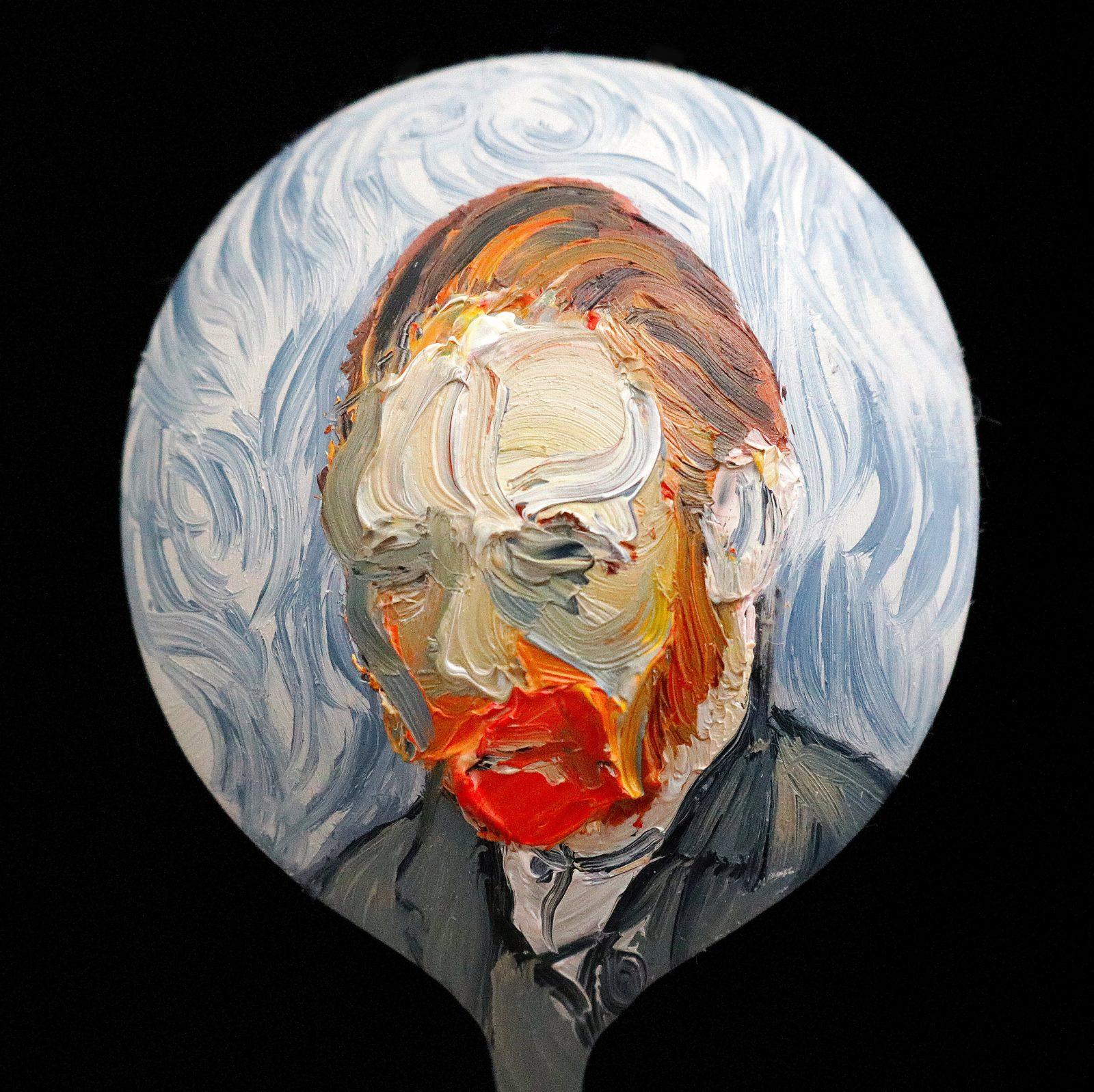 Steve salo 'Vincent' after Vincent van Gogh 'Self-portrait' oil on spoon 4.5cm diameter