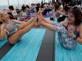 yoga, wine, workout, friends, fun, relax, stretch