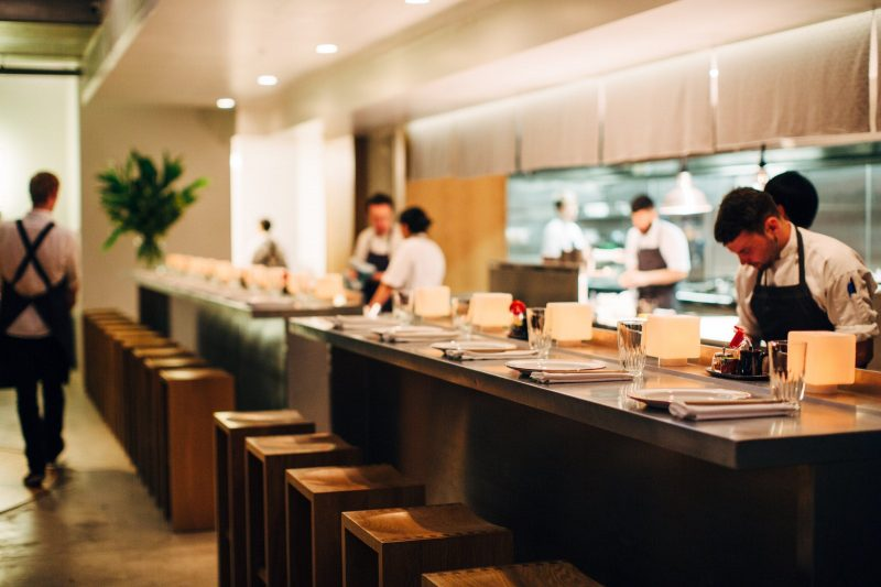 Dining at the kitchen bar