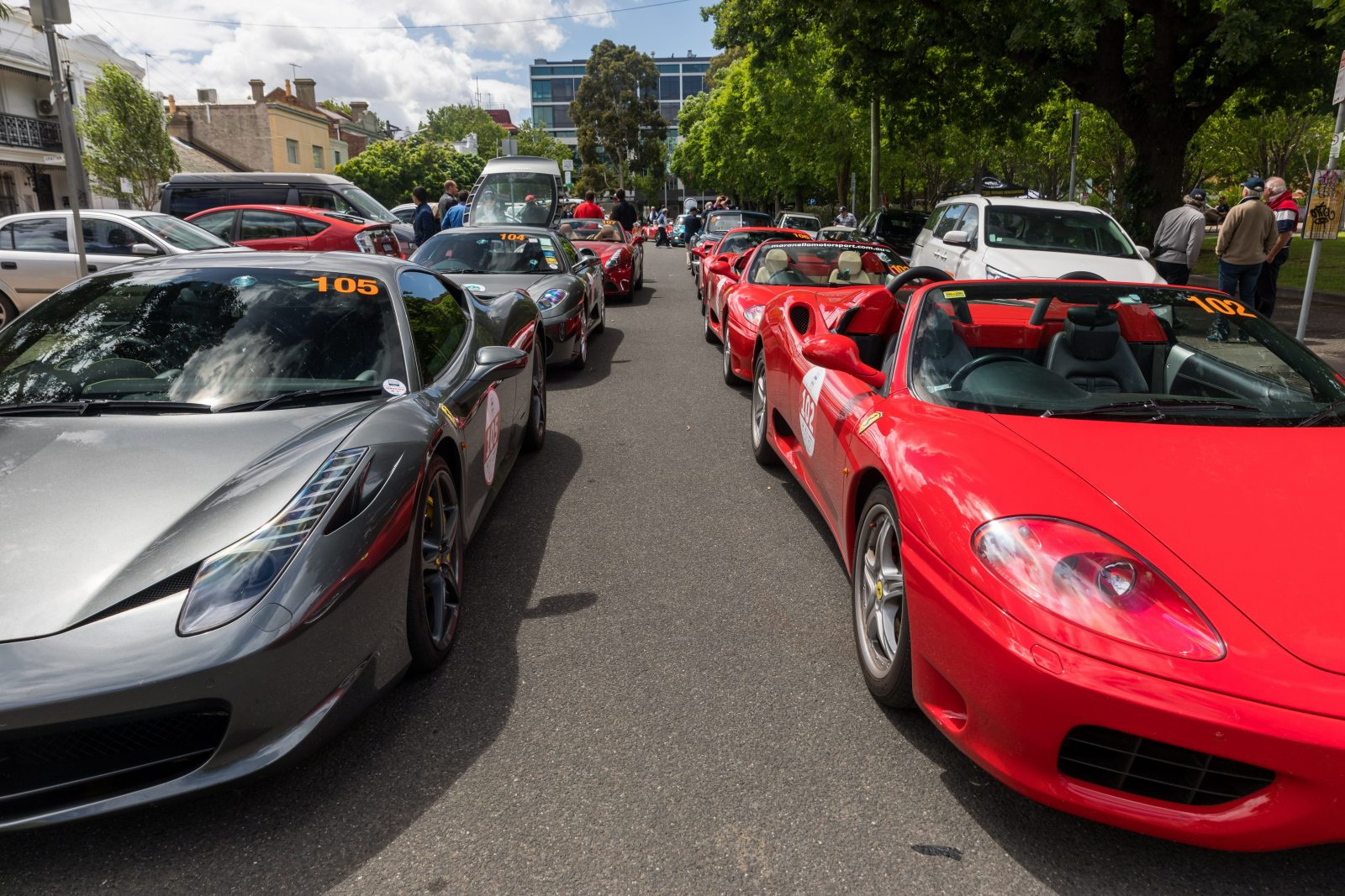 Ferraris and Supercars lining Lygon St Carlton