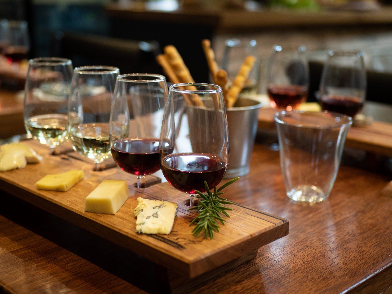 Tasting flight cheese and wine