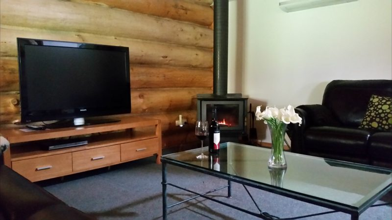 Wood fire and leather recliners
