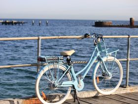 The blue Lekker eBike with the Cerberus HMAS in the background at Black Rock Melbourne, Victoria