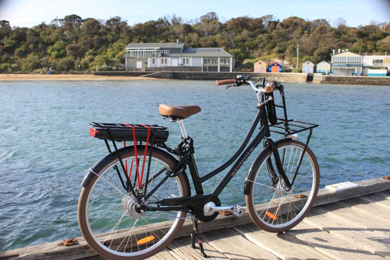 The black lekker eBike on Black Rock Pier at Half Moon Bay, Black Rock Melbourne, Victoria