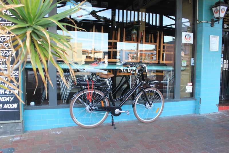 The Black Lekker eBike parked outside the Hobsons Gastropub in Sandringham Melbourne, Victoria