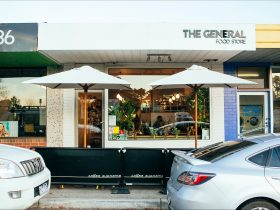 Shopfront and outdoor seating.