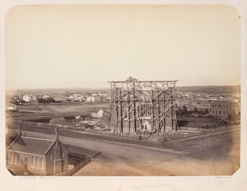 St Patricks Cathedral during construction c.1862.