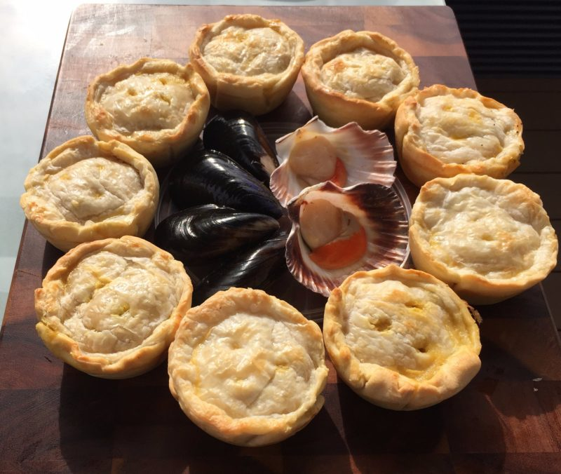 Mussel and scallop pies