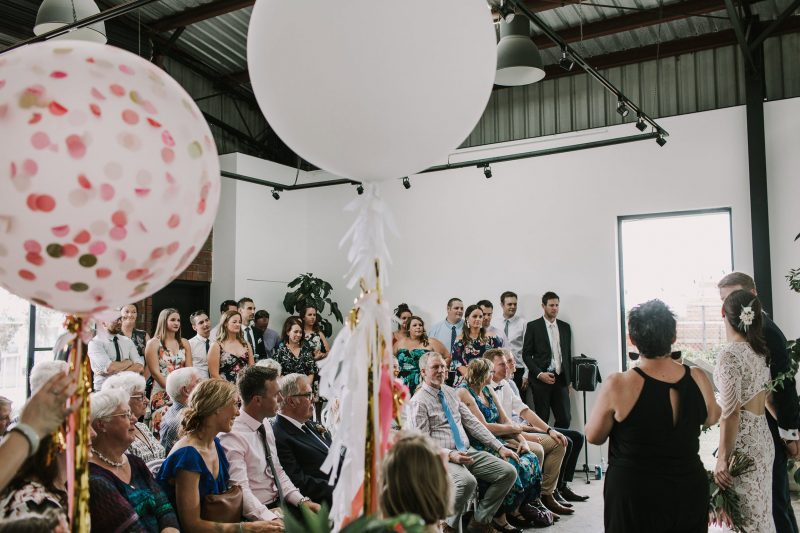 Beautiful industrial wedding ceremony on the Mornington Peninsula at The Nook Gallery & Studios.
