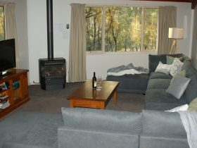 Lounge room with gas log fire, couch, coffee table and Tv unit