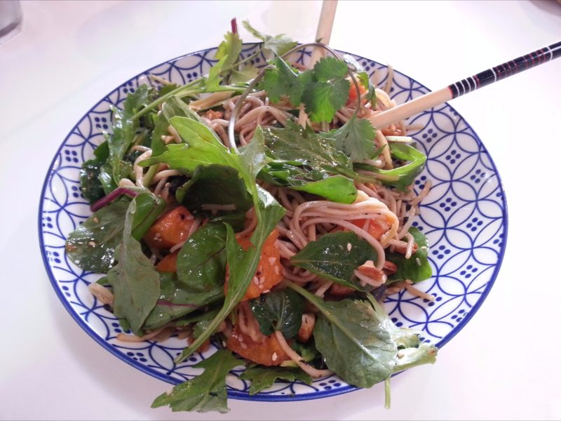 Delicious noodle salad for lunch