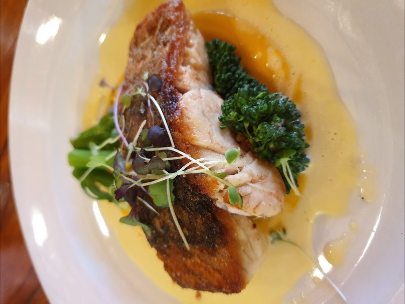 Crispy-skinned barramundi with broccolini on a white plate