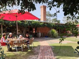 Red umbrella over garden diners