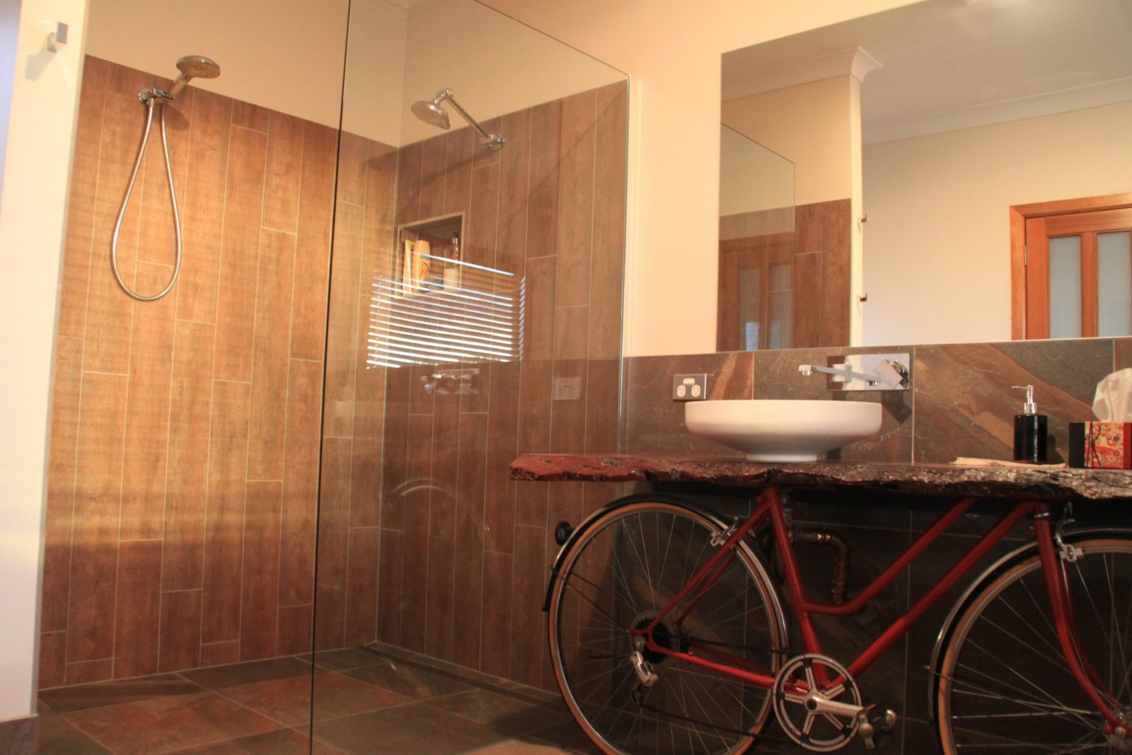 Double shower and vanity - there is also a HUGE bath !
