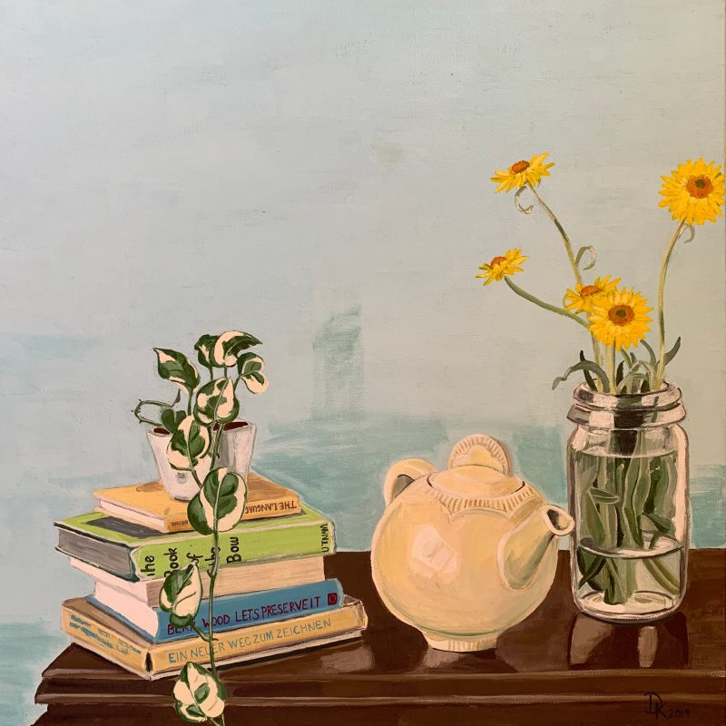 painting of teapot with paper daisies