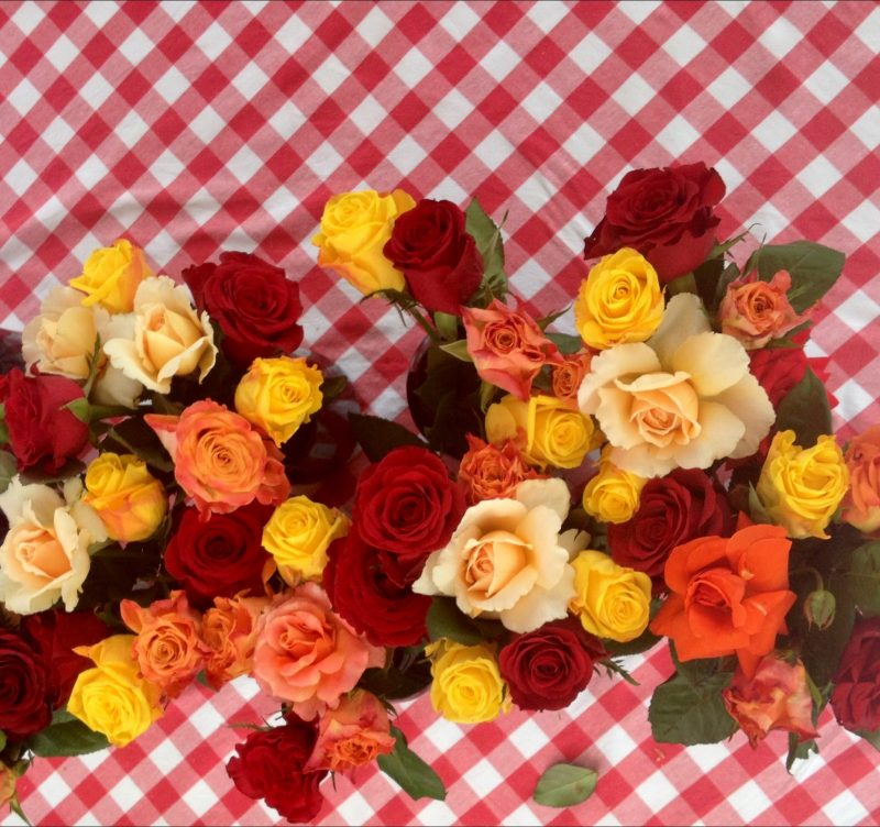 Check tablecloth and flowers at our Three Italians Long Lunch
