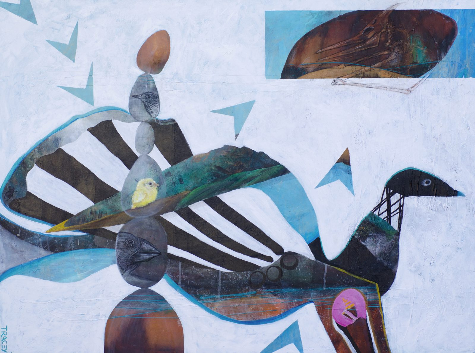 Tracey Waddell Birds of a Feather Mixed media