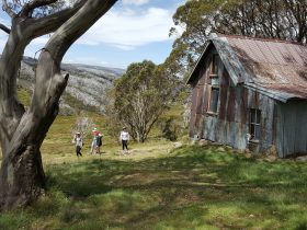Walkers exiting the Cope Hut surrounded by snowgums overlooking the Bogong High Plains