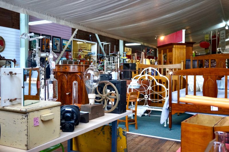 Tyabb Packing House Antiques - interior. Industrial items & beds