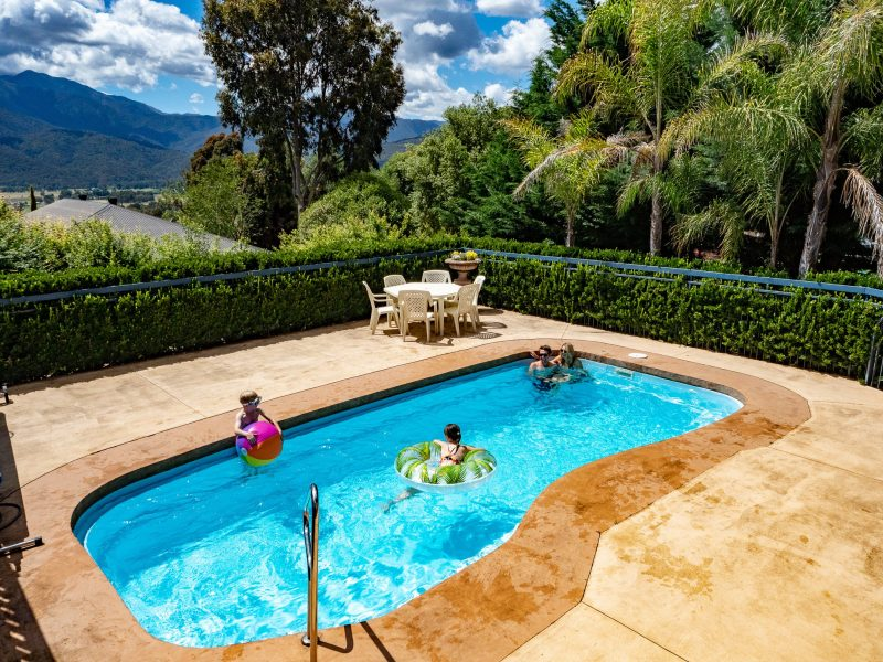 The in-ground pool is the perfect way to relax on those hot days.