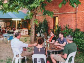 Enjoy a large dining area in the Victoria Hotel beer garden