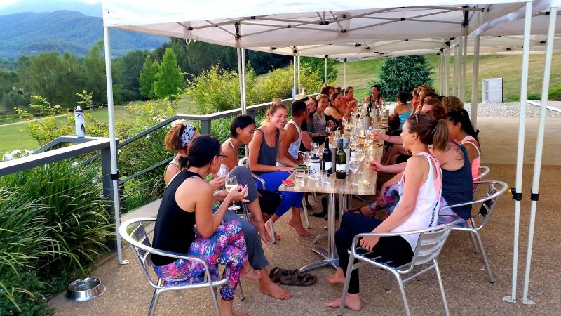 Enjoying local wine and share platters after yoga