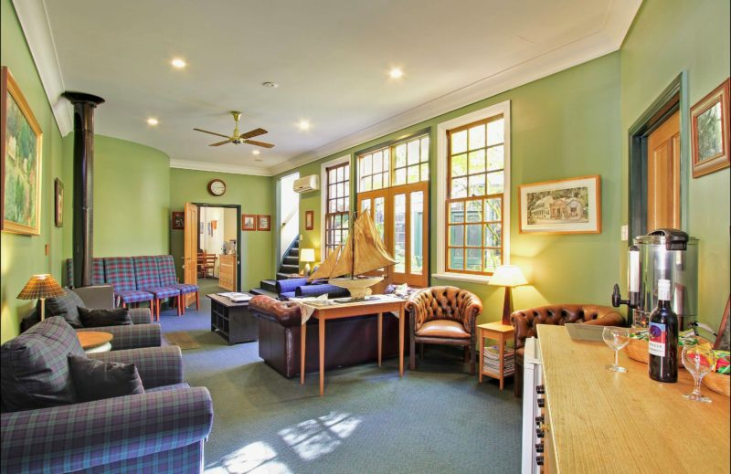 Guest lounge opens onto courtyard