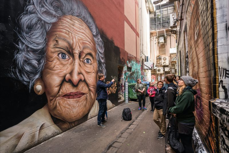 John profiles Melbourne's street art on the Walks 101 Free Walking Tour