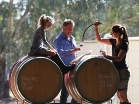 Amy uses a curved barrel spear to pour Andrew while a young girl sits atop the barrel watching on.