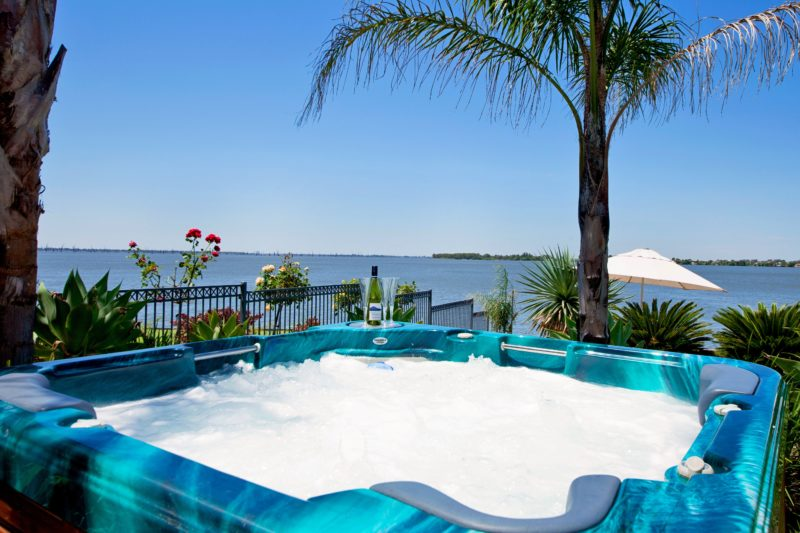 A spa with a view right on the waters edge.