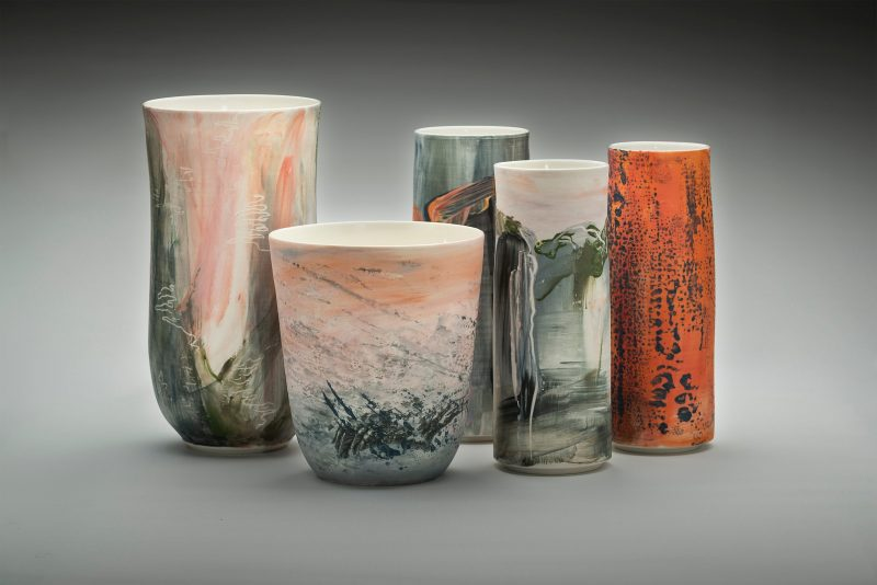Collection of vessels from Wendy Jagger's exhbition - Terrain