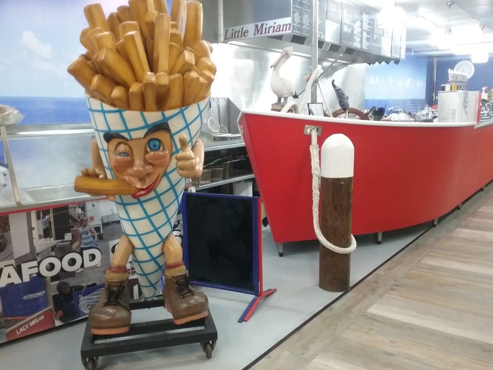 Wild Catch fish and chips mascot, Mr Chips