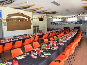 Tables and chairs set-up and ready for guests