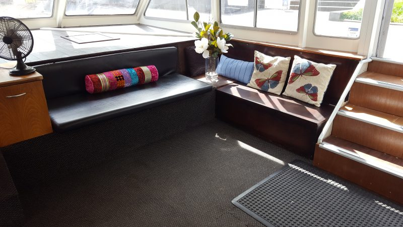 Starboard lounge is a comfortable area next to the captain and can seat up to 6 people