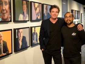 Vincent Fantauzzo and Gallery Director Andrew Chew at the opening of the Face to Face exhibition