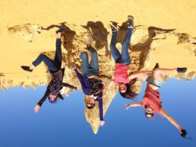 Leaping for joy at the Pinnacles, WA