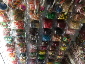 An assortment of bagged confectionery we sell in our shop