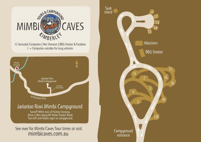 Mimbi Caves campground map
