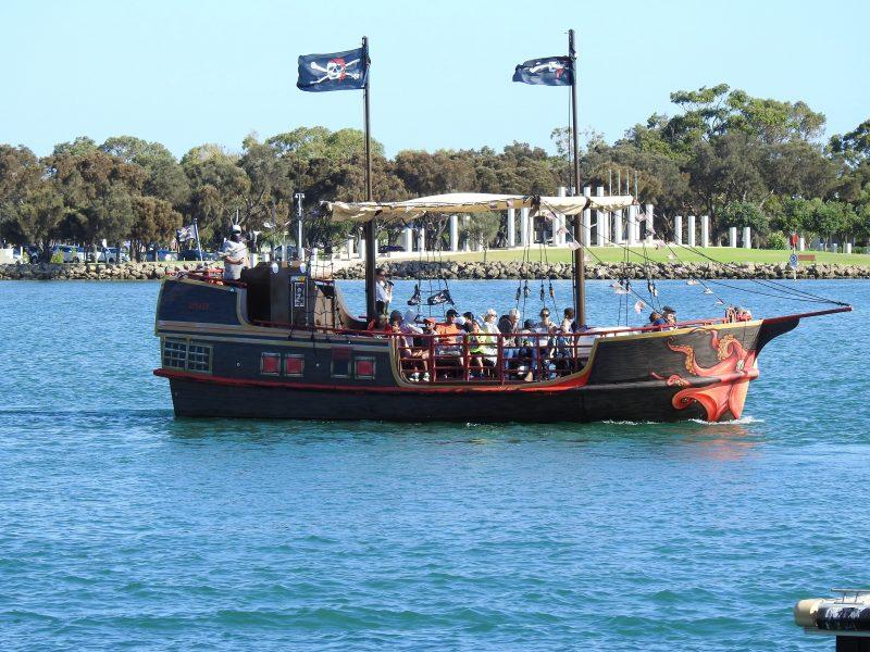 Pirate Ship in front of war memorial