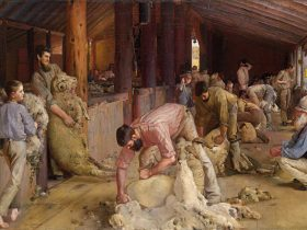 Tom Roberts' Shearing the rams, Perth, Western Australia