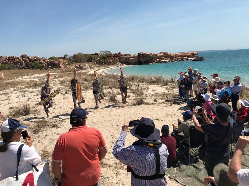 Junba traditional dance welcome to cruise passengers at Jar Island, Uunguu Coast
